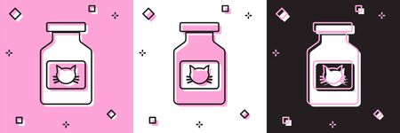 Set Cat medicine bottle icon isolated on pink and white, black background. Container with pills. Prescription medicine for animal. Vector Illustration