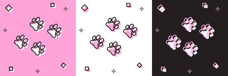 Set Paw print icon isolated on pink and white, black background. Dog or cat paw print. Animal track. Vector Illustration Иллюстрация