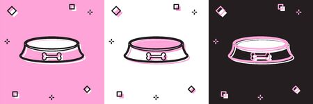 Set Pet food bowl for cat or dog icon isolated on pink and white, black background. Dog bone sign. Vector Illustration