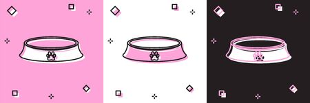 Set Pet food bowl for cat or dog icon isolated on pink and white, black background. Dog or cat paw print. Vector Illustration Stock fotó - 133697760