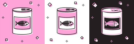 Set Canned food for cat icon isolated on pink and white, black background. Fish skeleton sign. Food for animals. Pet dog food can. Vector Illustration 向量圖像