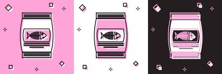 Set Bag of food for cat icon isolated on pink and white, black background. Fish skeleton sign. Food for animals. Pet food package. Vector Illustration
