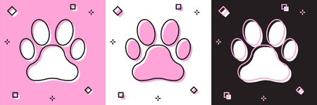 Set Paw print icon isolated on pink and white, black background. Dog or cat paw print. Animal track. Vector Illustration Ilustrace