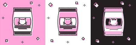 Set Bag of food for cat icon isolated on pink and white, black background. Food for animals. Pet food package. Vector Illustration