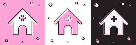 Set Veterinary medicine hospital, clinic or pet shop for animals icon isolated on pink and white, black background. Vet or veterinarian clinic. Vector Illustration