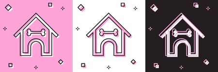 Set Dog house and bone icon isolated on pink and white, black background. Dog kennel. Vector Illustration Stock fotó - 133698022