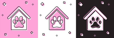 Set Dog house and paw print pet icon isolated on pink and white, black background. Dog kennel. Vector Illustration
