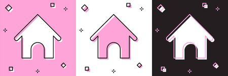 Set Dog house icon isolated on pink and white, black background. Dog kennel. Vector Illustration