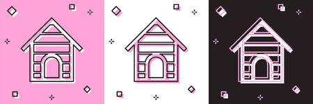 Set Dog house icon isolated on pink and white, black background. Dog kennel. Vector Illustration Stock fotó - 133698031