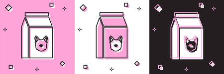 Set Bag of food for dog icon isolated on pink and white, black background. Food for animals. Pet food package. Vector Illustration