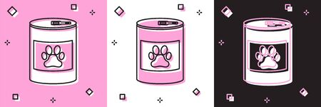 Set Canned food icon isolated on pink and white, black background. Food for animals. Pet food can. Dog or cat paw print. Vector Illustration