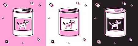 Set Canned food for dog icon isolated on pink and white, black background. Food for animals. Pet dog food can. Vector Illustration