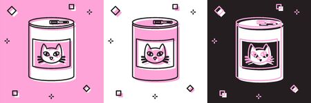 Set Canned food for cat icon isolated on pink and white, black background. Food for animals. Pet dog food can. Vector Illustration 向量圖像
