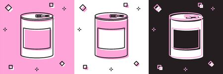 Set Canned food icon isolated on pink and white, black background. Food for animals. Pet food can. Vector Illustration 向量圖像