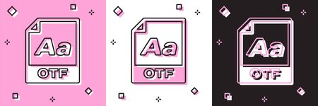 Set OTF file document. Download otf button icon isolated on pink and white, black background. OTF file symbol. Vector Illustration 写真素材 - 133697851