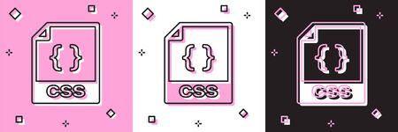 Set CSS file document. Download css button icon isolated on pink and white, black background. CSS file symbol. Vector Illustration Illusztráció