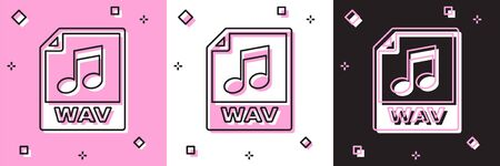 Set WAV file document. Download wav button icon isolated on pink and white, black background. WAV waveform audio file format for digital audio riff files. Vector Illustration Stock Illustratie