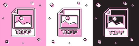 Set TIFF file document. Download tiff button icon isolated on pink and white, black background. TIFF file symbol. Vector Illustration