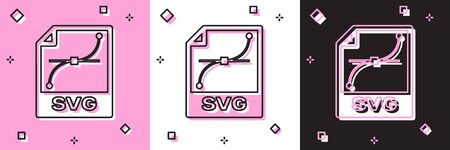 Set SVG file document. Download svg button icon isolated on pink and white, black background. SVG file symbol. Vector Illustration