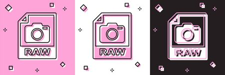 Set RAW file document. Download raw button icon isolated on pink and white, black background. RAW file symbol. Vector Illustration