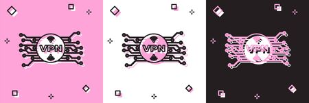 Set VPN in circle with microchip circuit icon isolated on pink and white, black background. Vector Illustration