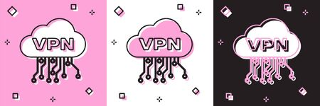 Set Cloud VPN interface icon isolated on pink and white, black background. Software integration. Vector Illustration Illusztráció