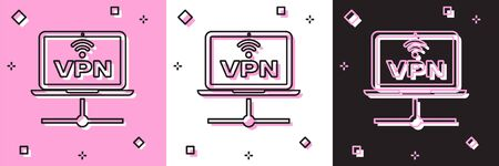 Set VPN Computer network icon isolated on pink and white, black background. Laptop network. Internet connection. Vector Illustration Ilustração