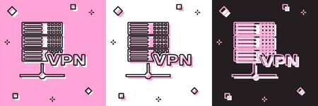Set Server VPN icon isolated on pink and white, black background. Vector Illustration