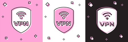 Set Shield with VPN and wifi wireless internet network symbol icon isolated on pink and white, black background. VPN protect safety concept. Vector Illustration