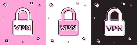 Set Lock VPN icon isolated on pink and white, black background. Vector Illustration