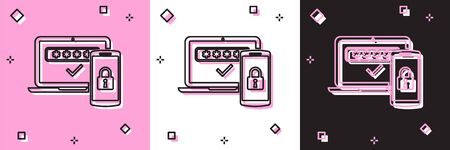 Set Multi factor, two steps authentication icon isolated on pink and white, black background. Vector Illustration