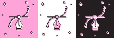Set Bezier curve icon isolated on pink and white, black background. Pen tool icon. Vector Illustration