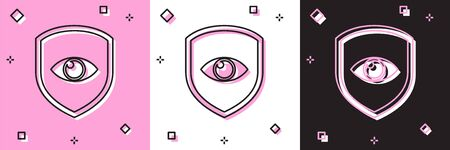 Set Shield and eye icon isolated on pink and white, black background. Security, safety, protection, privacy concept. Vector Illustration