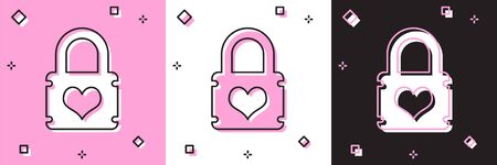 Set Padlock with heart icon isolated on pink and white, black background. Locked Heart. Love symbol and keyhole sign. Vector Illustration