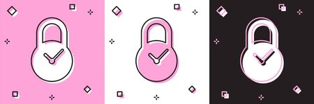 Set Padlock with clock icon isolated on pink and white, black background. Time control concept. Lock and countdown, deadline, schedule, planning symbol. Vector Illustration