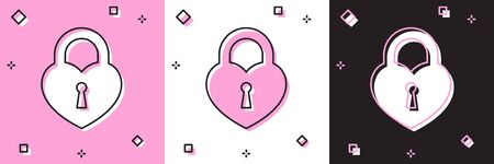 Set Castle in the shape of a heart icon isolated on pink and white, black background. Locked Heart. Love symbol and keyhole sign. Vector Illustration
