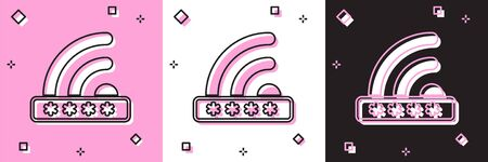 Set Wifi locked sign icon isolated on pink and white, black background. Password wifi symbol. Wireless Network icon. Wifi zone. Limited access. Vector Illustration