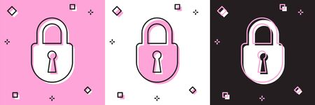 Set Lock icon isolated on pink and white, black background. Padlock sign. Security, safety, protection, privacy concept. Vector Illustration Illustration