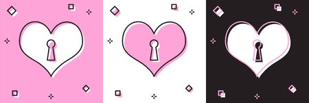 Set Heart with keyhole icon isolated on pink and white, black background. Locked Heart. Love symbol and keyhole sign. Vector Illustration Illustration