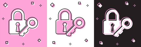 Set Lock and key icon isolated on pink and white, black background. Padlock sign. Security, safety, protection, privacy concept. Vector Illustration Illustration