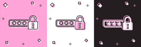 Set Password protection and safety access icon isolated on pink and white, black background. Lock icon. Security, safety, protection, privacy concept. Vector Illustration