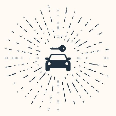 Grey Car rental icon isolated on beige background. Rent a car sign. Key with car. Concept for automobile repair service, spare parts store. Abstract circle random dots. Vector Illustration Ilustrace