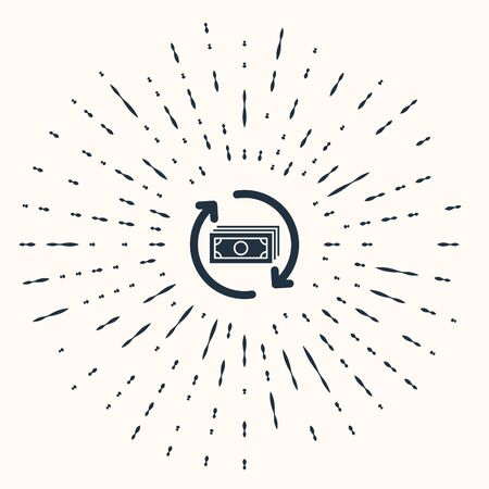 Grey Refund money icon isolated on beige background. Financial services, cash back concept, money refund, return on investment, savings account. Abstract circle random dots. Vector Illustration