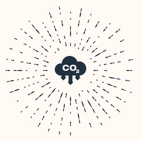Grey CO2 emissions in cloud icon isolated on beige background. Carbon dioxide formula symbol, smog pollution concept, environment concept. Abstract circle random dots. Vector Illustration