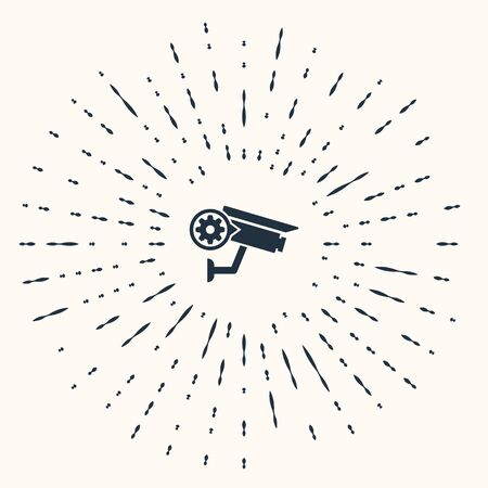 Grey Security camera and gear icon isolated on beige background. Adjusting app, service concept, setting options, maintenance, repair, fixing. Abstract circle random dots. Vector Illustration 向量圖像