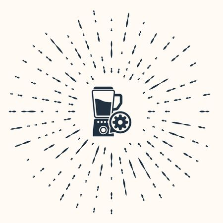 Grey Blender with bowl and gear icon isolated on beige background. Adjusting app, service concept, setting options, maintenance, repair, fixing. Abstract circle random dots. Vector Illustration