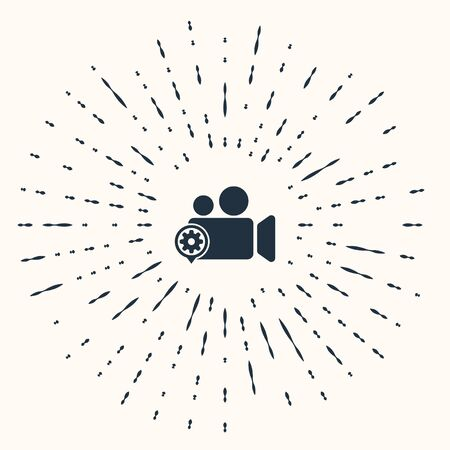 Grey Movie or Video camera and gear icon isolated on beige background. Adjusting app, service concept, setting options, maintenance, repair, fixing. Abstract circle random dots. Vector Illustration
