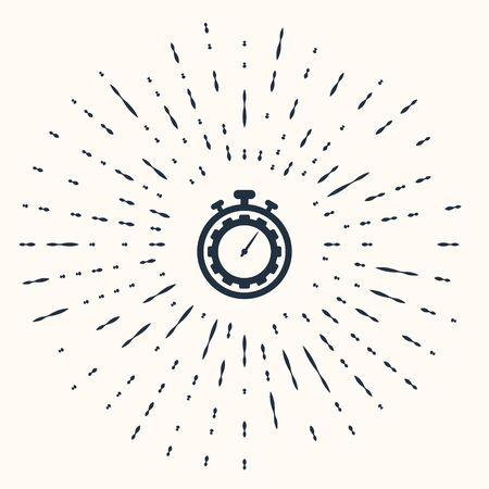 Grey Time Management icon isolated on beige background. Clock and gear sign. Productivity symbol. Abstract circle random dots. Vector Illustration Illusztráció