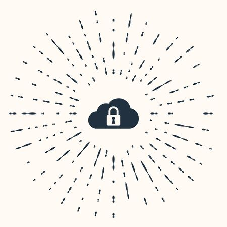 Grey Cloud computing lock icon isolated on beige background. Security, safety, protection concept. Abstract circle random dots. Vector Illustration