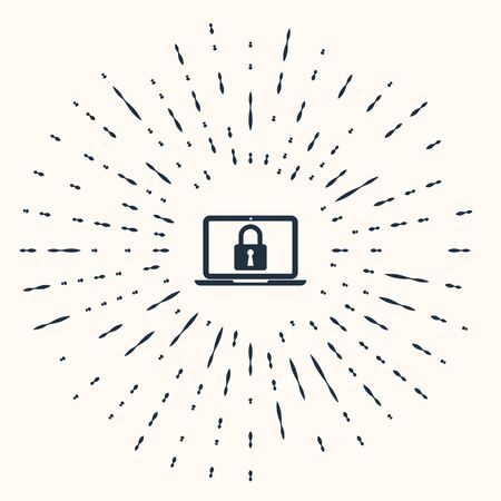 Grey Laptop and lock icon isolated on beige background. Computer and padlock. Security, safety, protection concept. Safe internetwork. Abstract circle random dots. Vector Illustration